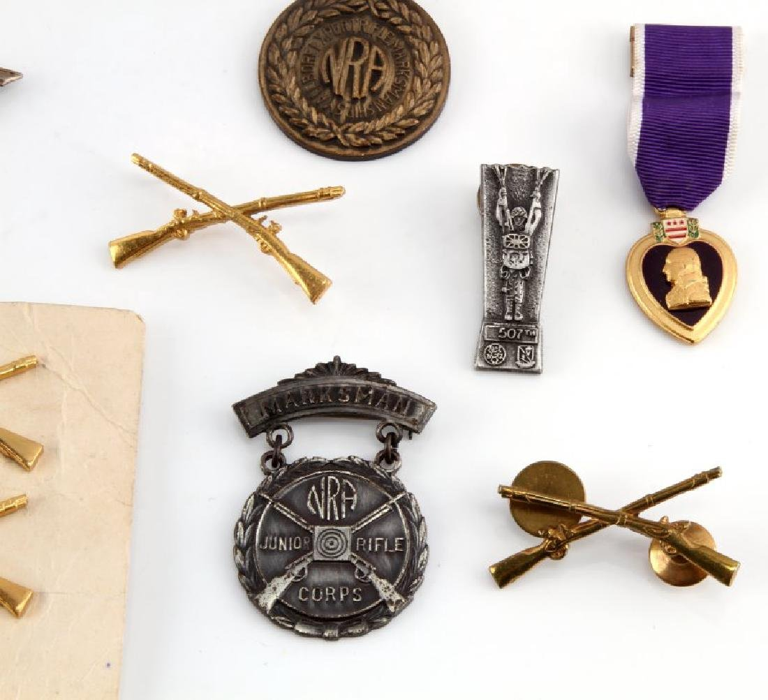 ASSORTED MILITARY NRA BADGES & PURPLE HEART - 3