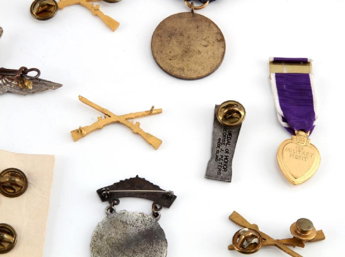 ASSORTED MILITARY NRA BADGES & PURPLE HEART - 7