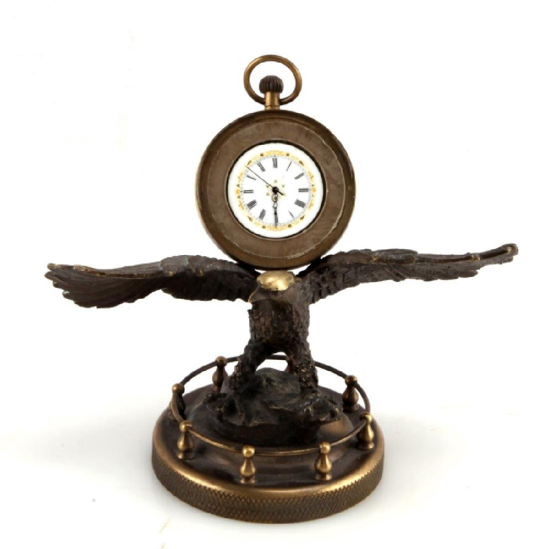 VINTAGE BRASS TABLETOP EAGLE CLOCK