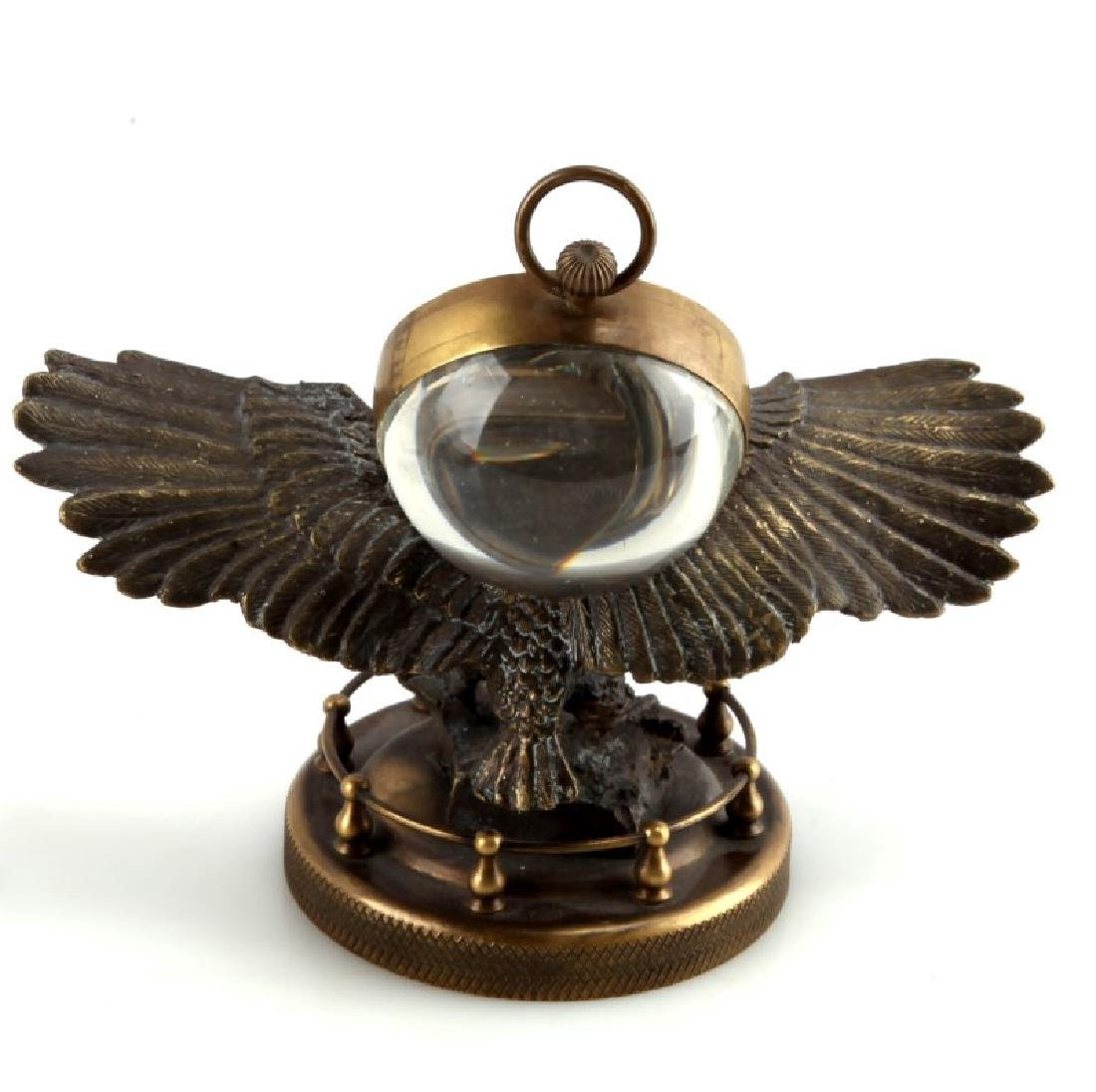 VINTAGE BRASS TABLETOP EAGLE CLOCK - 3