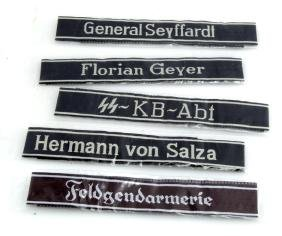 GERMAN WWII 5 REPLICA WAFFEN SS CUFF TITLES