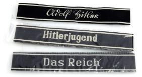 GERMAN WWII 3 REPLICA WAFFEN SS CUFF TITLES