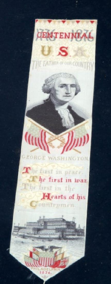 LOT GEORGE WASHINGTON 1876 SILK CENTENNIAL RIBBONS - 2