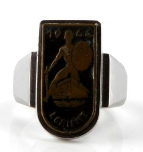 GERMAN WWII UNISSUED RING W LORIENT BADGE 1944