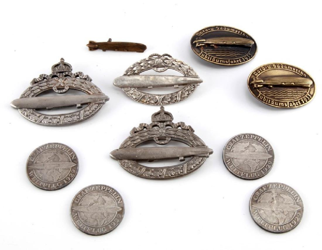 GROUP OF 10 WWII GERMAN ZEPPELIN BADGES & COINS