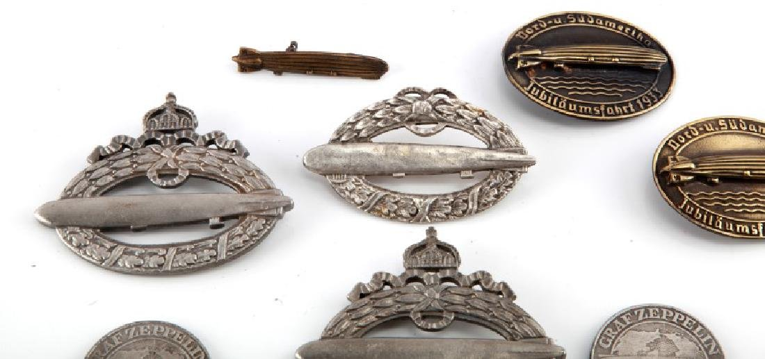 GROUP OF 10 WWII GERMAN ZEPPELIN BADGES & COINS - 2