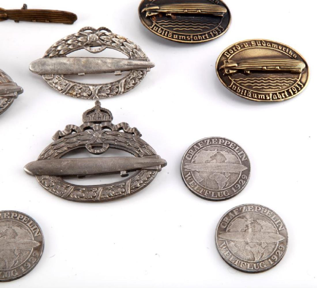 GROUP OF 10 WWII GERMAN ZEPPELIN BADGES & COINS - 3