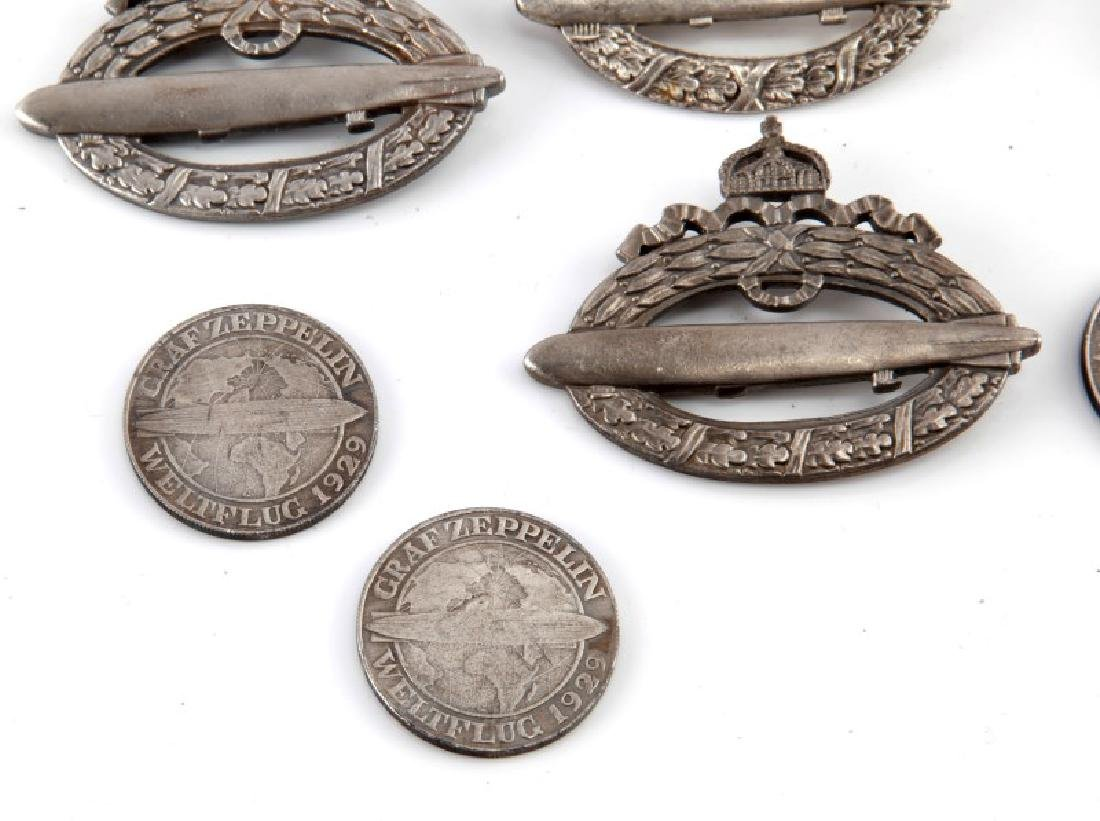 GROUP OF 10 WWII GERMAN ZEPPELIN BADGES & COINS - 4