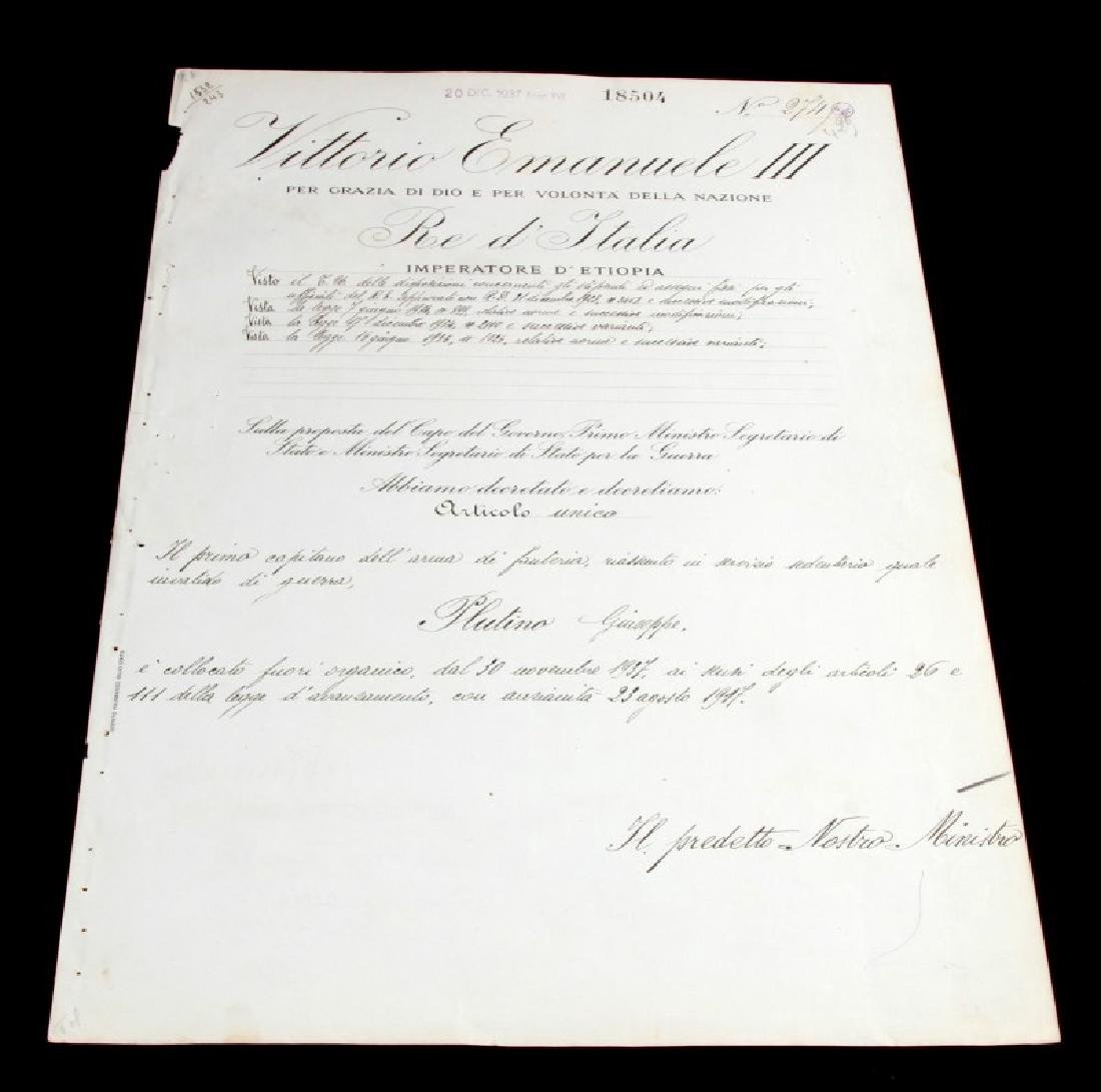 BENITO MUSSOLINI SIGNED MILITARY PROMOTION