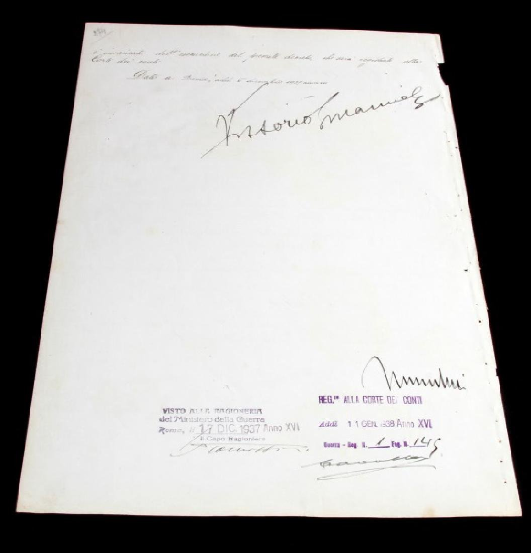 BENITO MUSSOLINI SIGNED MILITARY PROMOTION - 5