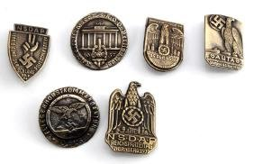 GROUP OF 6 GERMAN WWII THIRD REICH TINNIES