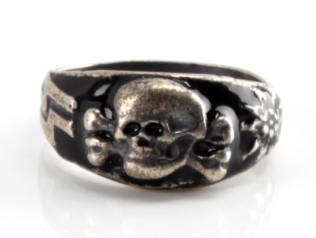 GERMAN WWII WAFFEN SS MOUNTAIN TROOPS SILVER RING