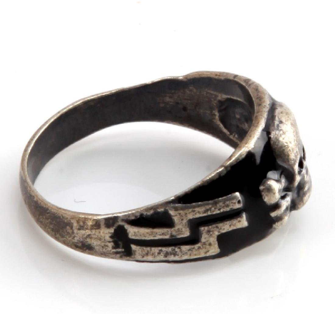 GERMAN WWII WAFFEN SS MOUNTAIN TROOPS SILVER RING - 4