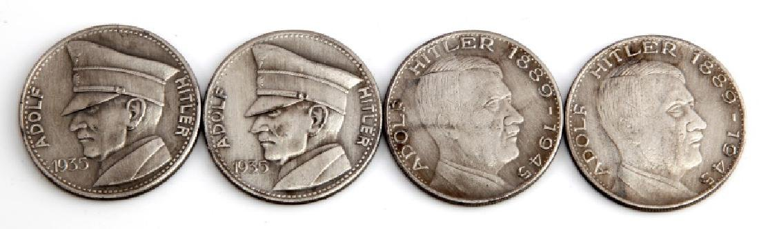 4 GERMAN WWII THIRD REICH ADOLF HITLER COINS