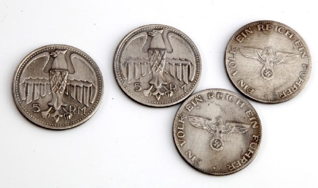 4 GERMAN WWII THIRD REICH ADOLF HITLER COINS - 2