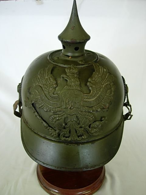 200: WWI GERMAN SPIKED HELMET PICKELHAUBE NAMED RARE