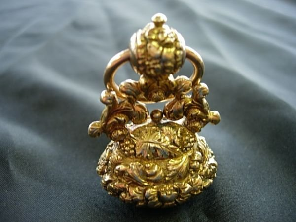 18kt GOLD CITRINE WATCH FOB LOUIS COXETTER CONFEDERATE