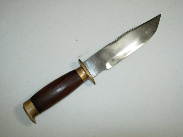 "WWII HANDMADE FIGHTING KNIFE 7"" SS BLADE SAWBACK"