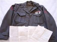 WWII USMC MARINE CORP IKE JACKET W MEDALS & EPHEMERA