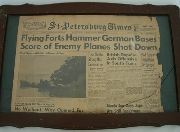 FRAMED NEWSPAPER OF WWII 1943 ST PETERSBURG TIMES
