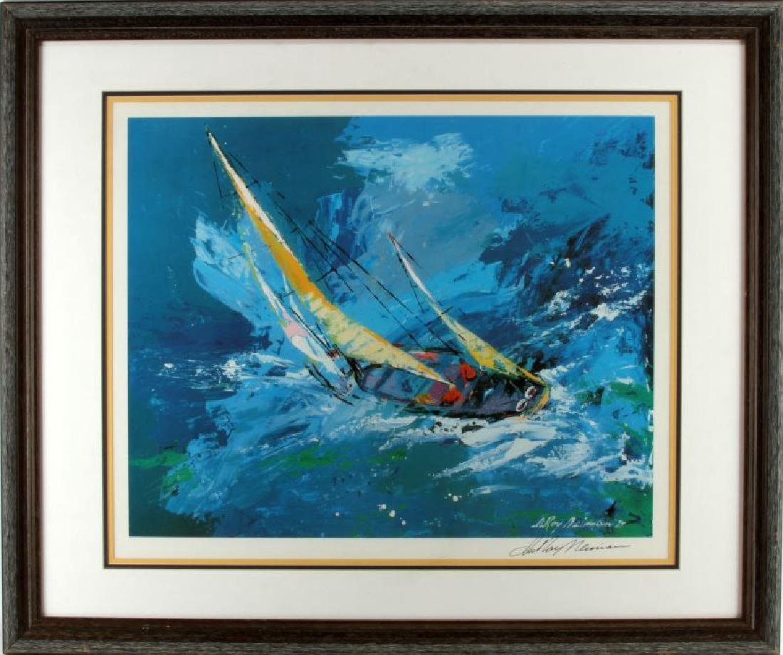 LEROY NEIMAN AMERICAS CUP LITHO SIGNED AND FRAMED