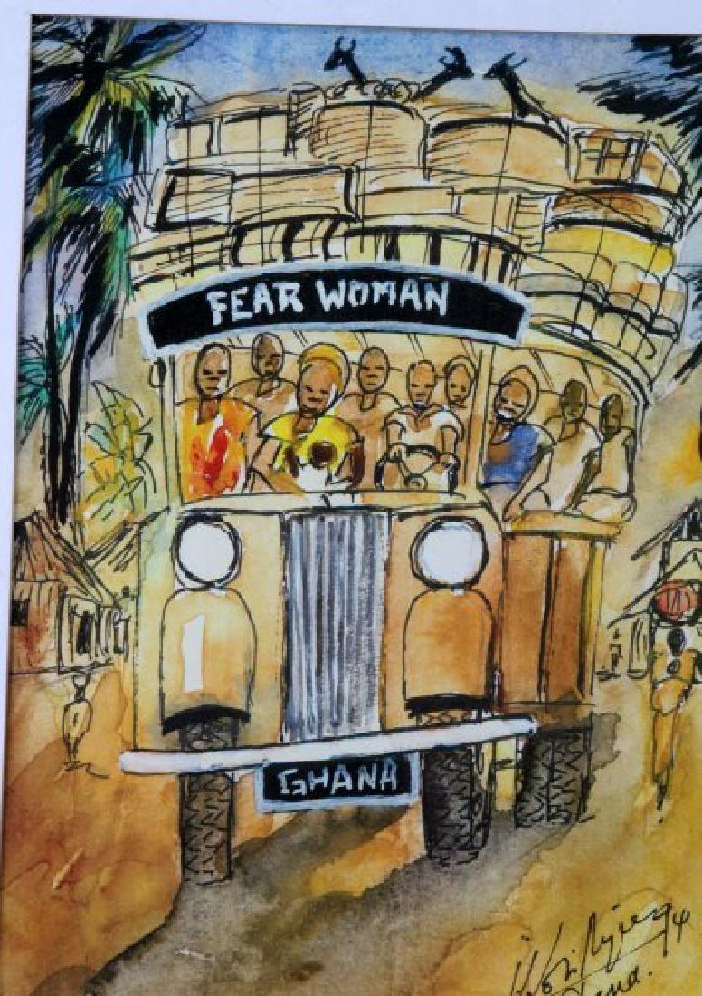 FEAR WOMAN WATERCOLOR BY JOHN KOFI ARYEE GHANA - 2