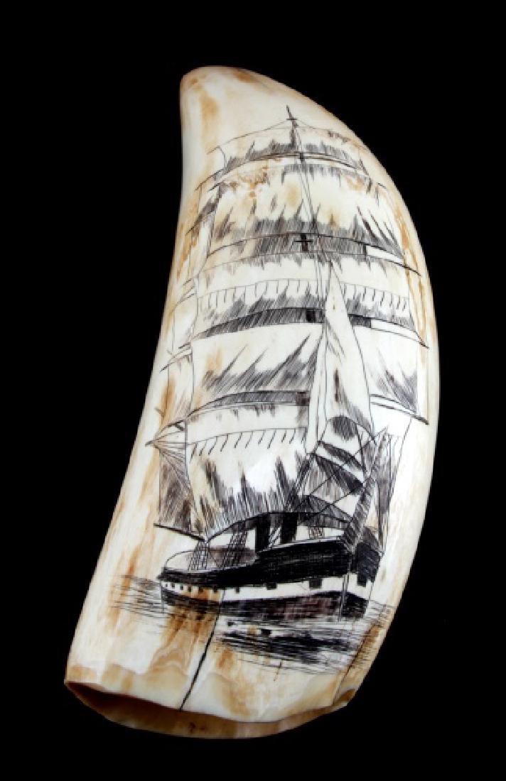 ANTIQUE WHALE TOOTH SCRIMSHAW WAR SHIP & WOMAN