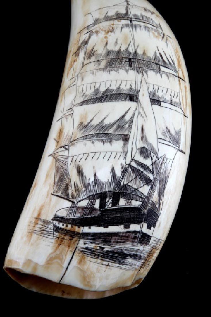 ANTIQUE WHALE TOOTH SCRIMSHAW WAR SHIP & WOMAN - 2