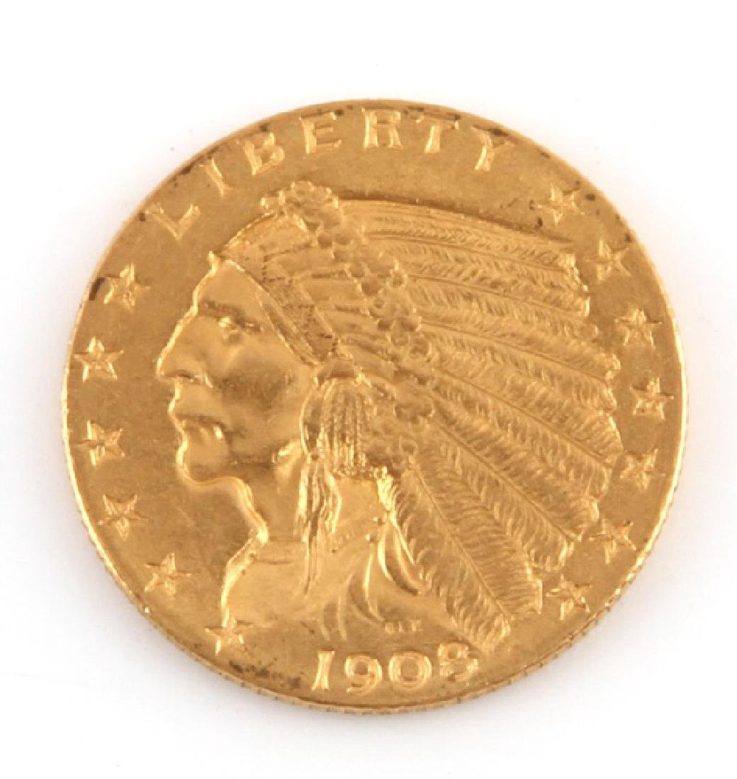 1908 GOLD $2.50 INDIAN HEAD QUARTER EAGLE COIN