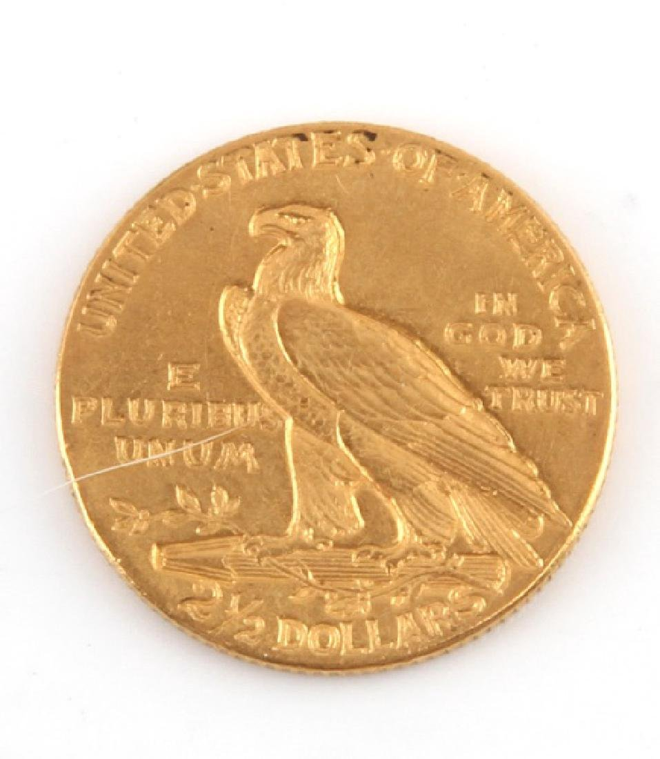 1908 GOLD $2.50 INDIAN HEAD QUARTER EAGLE COIN - 2