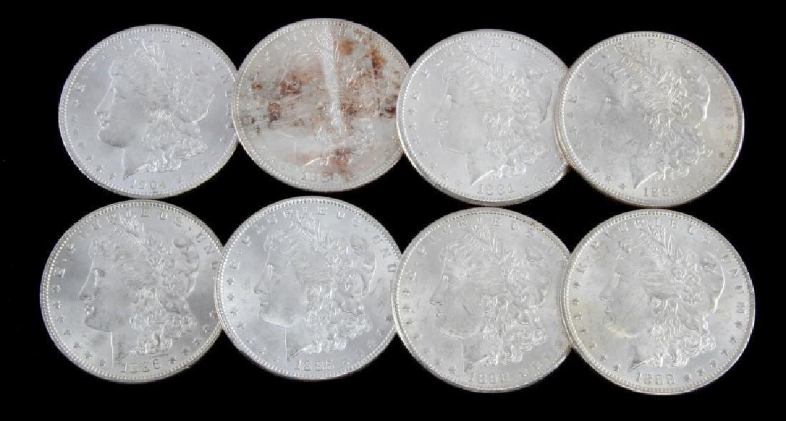 LOT OF 8 MORGAN SILVER DOLLARS BU 1881 THRU 1904
