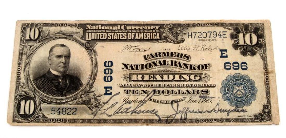 NATIONAL CURRENCY READING PA  $10 PLAIN BACK
