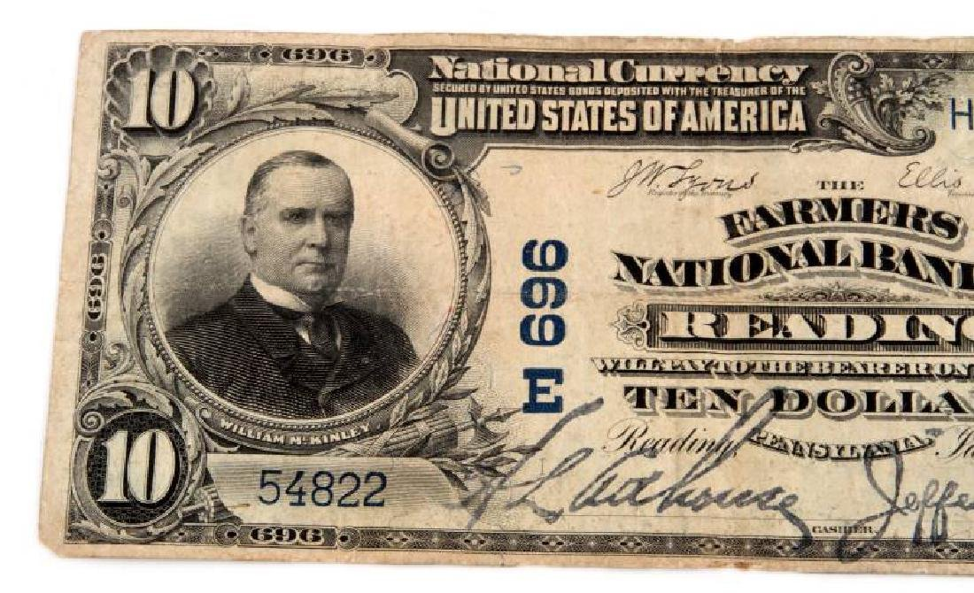 NATIONAL CURRENCY READING PA  $10 PLAIN BACK - 2