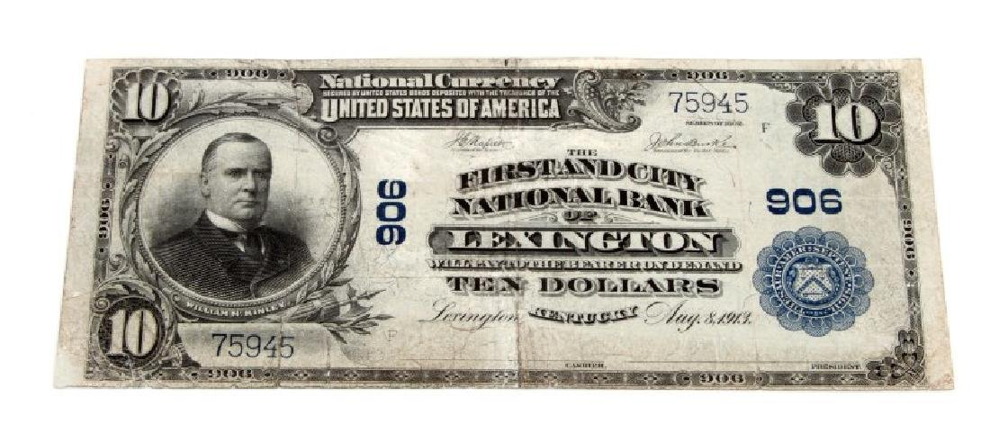 NATIONAL CURRENCY LEXINGTON KY $10 PLAIN BACK