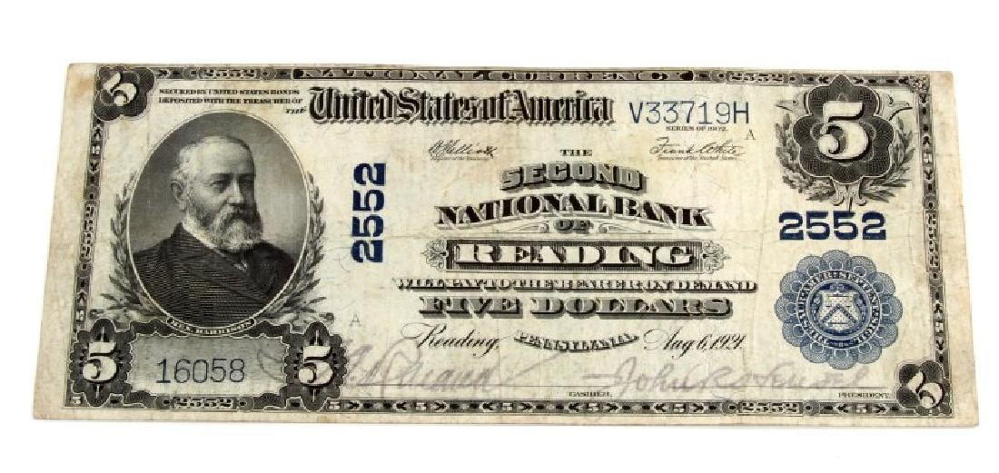 NATIONAL CURRENCY READING PA $5 PLAIN BACK