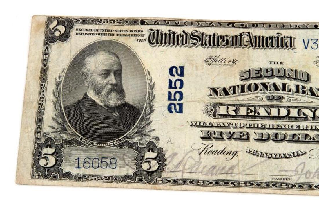 NATIONAL CURRENCY READING PA $5 PLAIN BACK - 2
