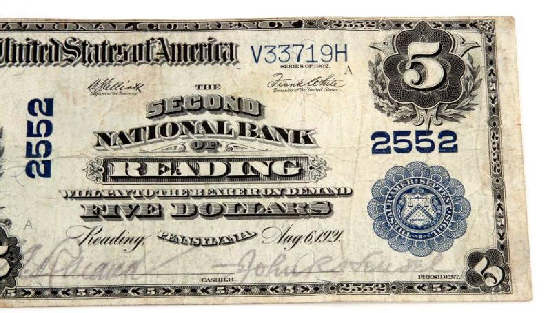NATIONAL CURRENCY READING PA $5 PLAIN BACK - 3