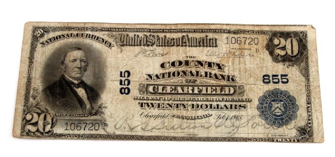 NATIONAL CURRENCY CLEARFIELD PA $20 PLAIN BACK