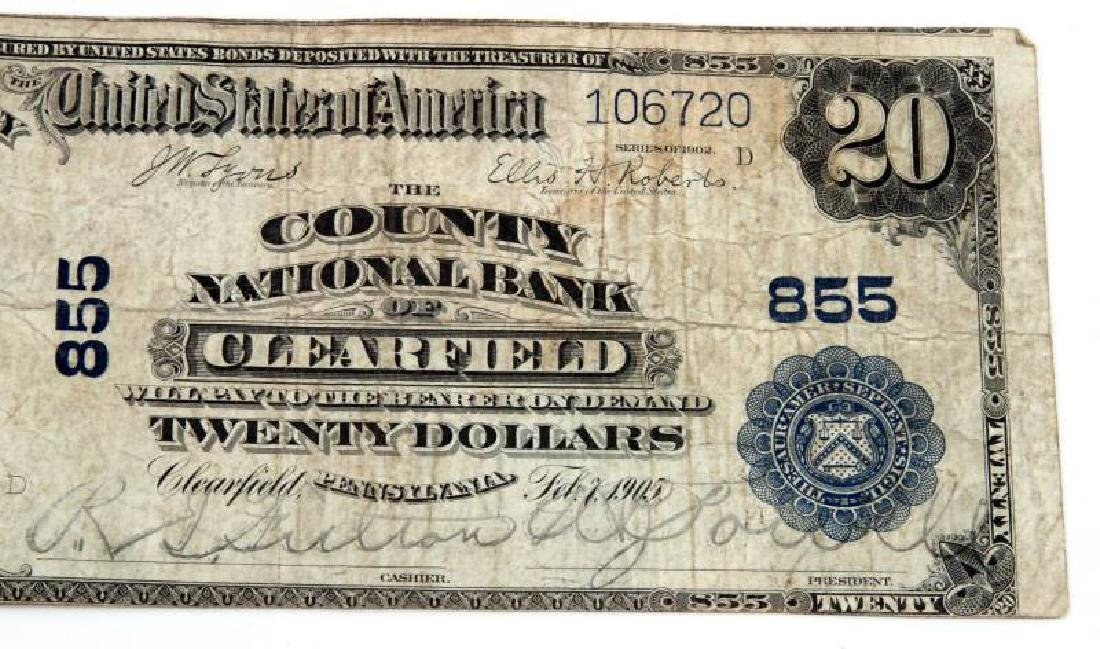 NATIONAL CURRENCY CLEARFIELD PA $20 PLAIN BACK - 2