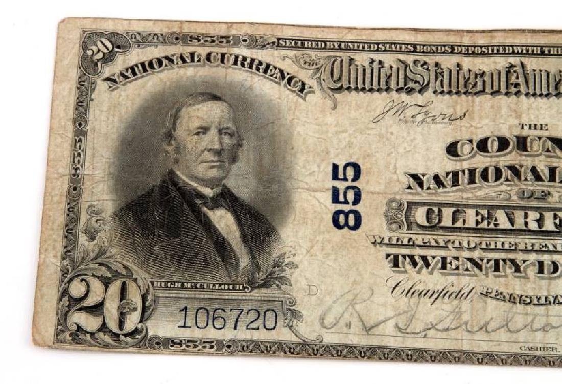 NATIONAL CURRENCY CLEARFIELD PA $20 PLAIN BACK - 3