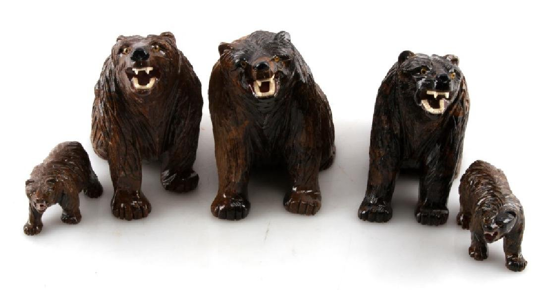 LOT OF 5 PERUVIAN STROMATOLITE BEAR SCULPTURES