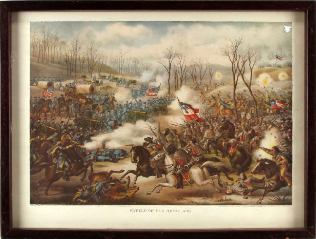 ANTIQUE KURZ & ALLISON LITHO BATTLE OF PEA RIDGE