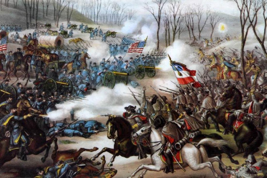 ANTIQUE KURZ & ALLISON LITHO BATTLE OF PEA RIDGE - 2