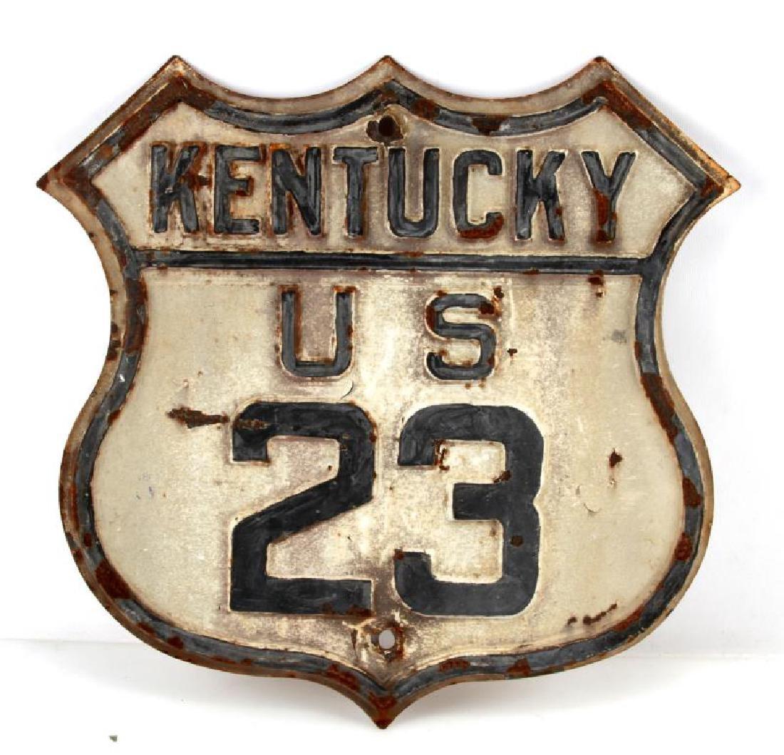 ANTIQUE RAISED ENAMEL KENTUCKY U.S 23 HIGHWAY SIGN
