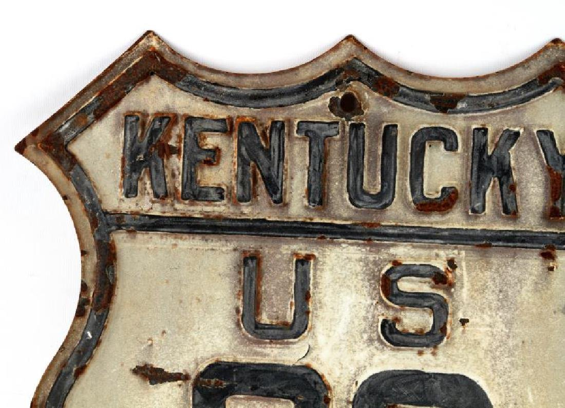 ANTIQUE RAISED ENAMEL KENTUCKY U.S 23 HIGHWAY SIGN - 2