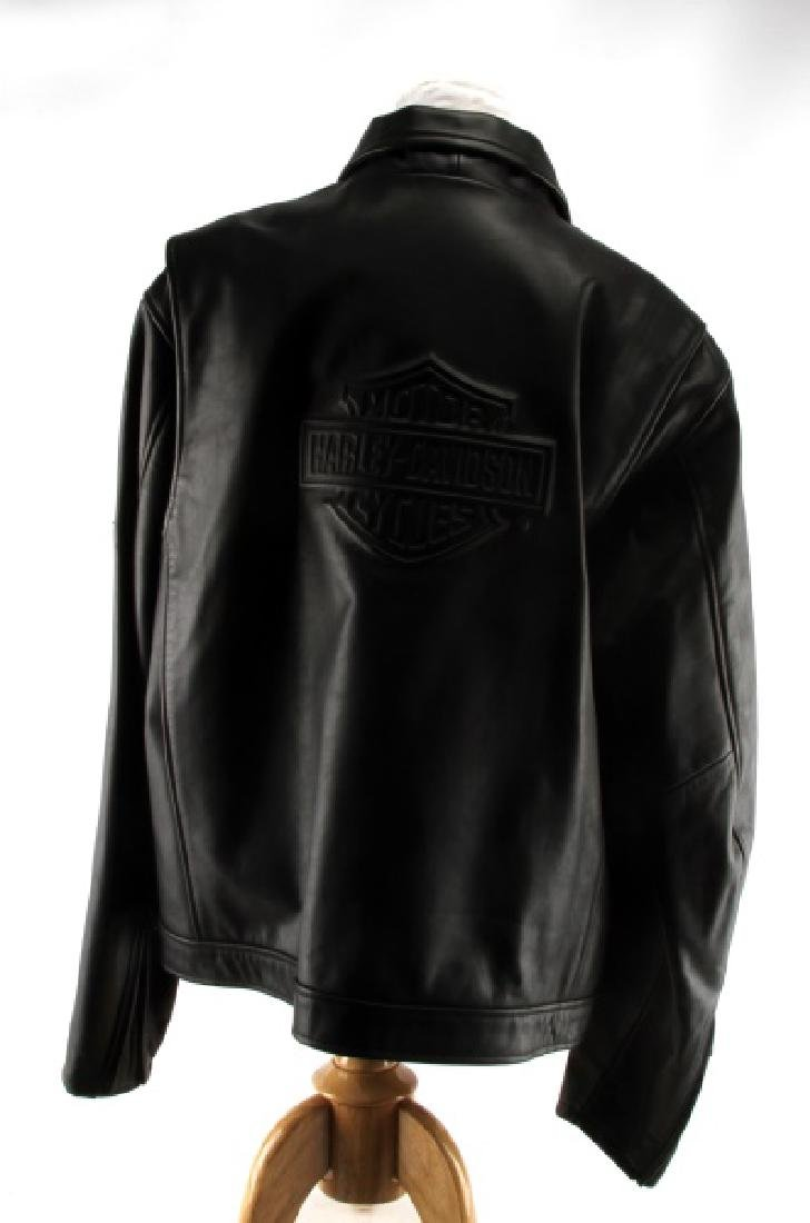 MEN'S XL EMBOSSED LEATHER HARLEY DAVIDSON JACKET - 3