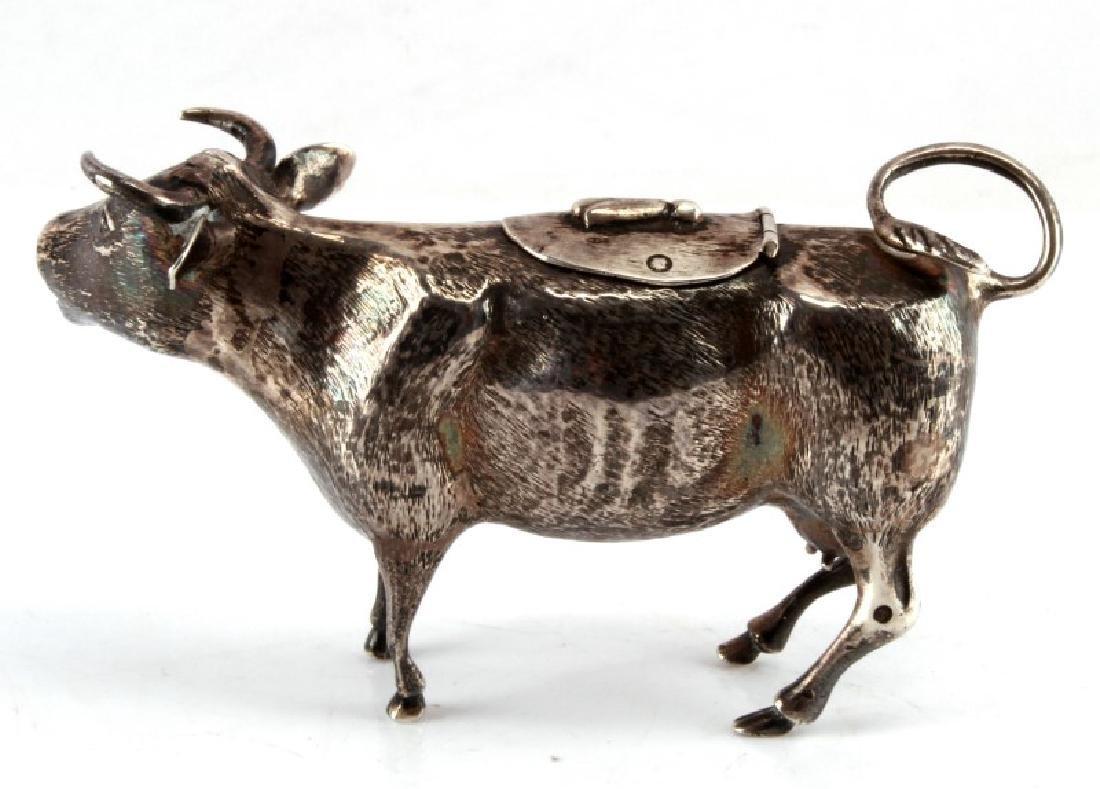 ANTIQUE DUTCH HALLMARK SILVER COW CREAMER - 3