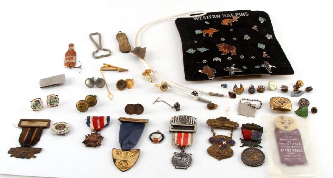 LARGE LOT OF FRATERNAL PINS & CUFF LINKS & MORE