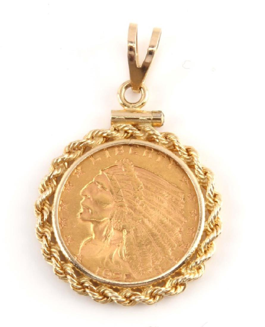 1925 GOLD $2.50 INDIAN MOUNTED COIN PENDANT