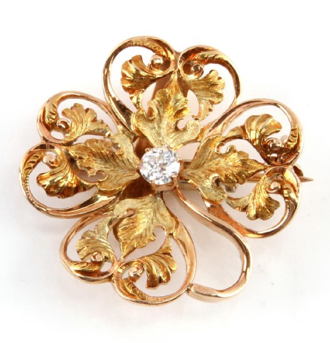 ANTIQUE 14KT ROSE GOLD BROOCH WITH .27 CT DIAMOND